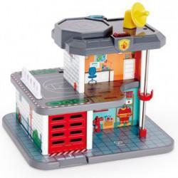 Estación de bomberos, policía y tren