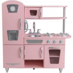 Cocina de juguete de madera vintage rosa para niños con teléfono incluido para juegos de dramatizaciòn , Color Rosa